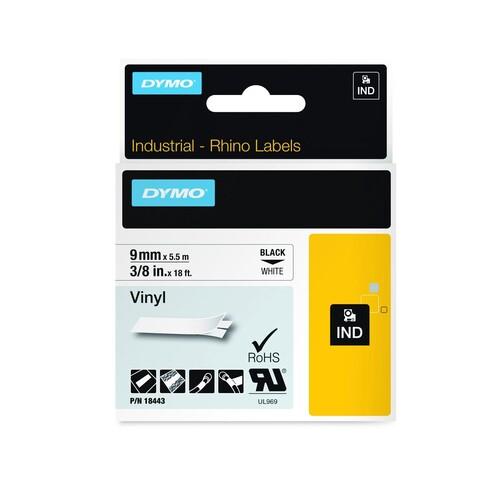 Schriftband IND Rhino 9mm/5,5m schwarz auf weiß Vinyl Dymo 18443 (ST=5,5 METER) Produktbild Additional View 1 L