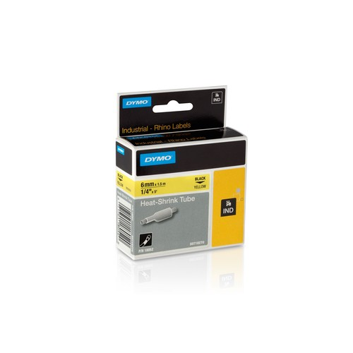 Schriftband IND Rhino 9mm/5,5m weiß auf schwarz Vinyl Dymo 1805437 (ST=5,5 METER) Produktbild Front View L