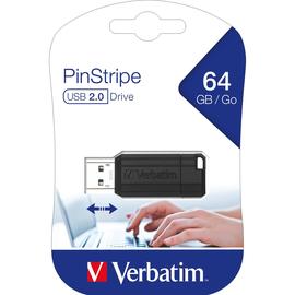 USB Stick Pin Stripe Store 'n Go 64GB schwarz Verbatim 49065 Produktbild