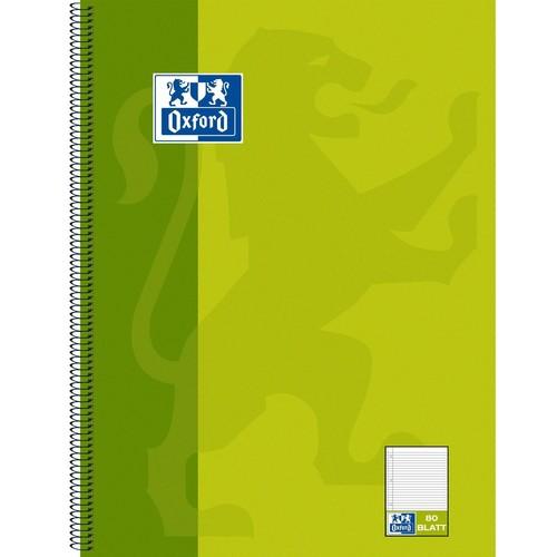 Collegeblock Oxford 4-fach Lochung A4 liniert mit Rand links 80Blatt 90g Optik Paper weiß anisgrün 100050357 Produktbild