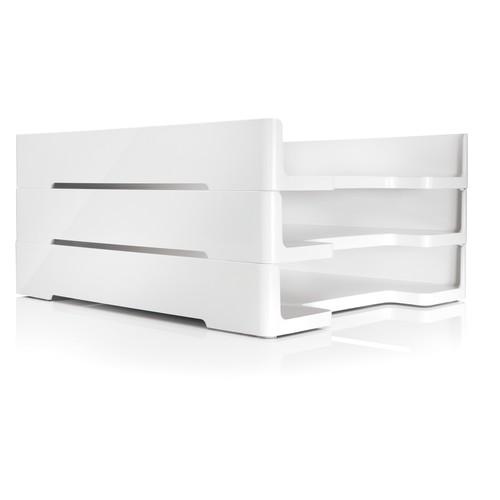 Briefablage eyestyle A4 268x50x333mm weiß High-Gloss ABS Kunststoff Sigel SA107 Produktbild Additional View 3 L