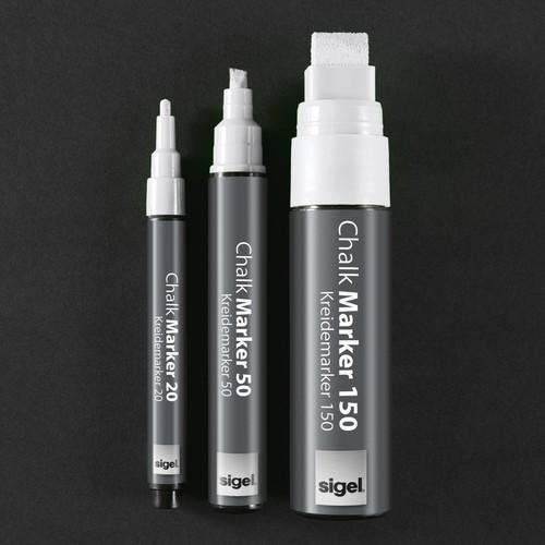 Kreidemarker 150 artverum 5-15mm Keilspitze abwischbar weiß Sigel GL171 Produktbild Additional View 4 L
