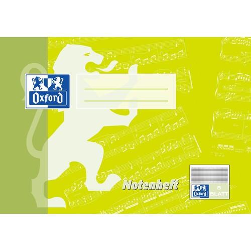 Notenheft Oxford A5 quer mit Hilfslinien 8Blatt 90g Optik Paper weiß 100057956 Produktbild Front View L