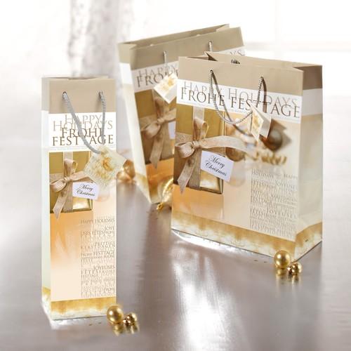 Weihnachts-Flaschentasche für 1Flasche 10x35x8cm Golden Shimmer Sigel GT018 (PACK=5 STÜCK) Produktbild Additional View 2 L