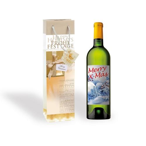 Weihnachts-Flaschentasche für 1Flasche 10x35x8cm Golden Shimmer Sigel GT018 (PACK=5 STÜCK) Produktbild Additional View 1 L