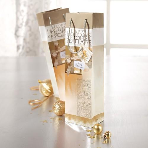 Weihnachts-Flaschentasche für 1Flasche 10x35x8cm Golden Shimmer Sigel GT018 (PACK=5 STÜCK) Produktbild Additional View 3 L