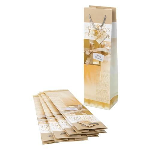 Weihnachts-Flaschentasche für 1Flasche 10x35x8cm Golden Shimmer Sigel GT018 (PACK=5 STÜCK) Produktbild Additional View 4 L