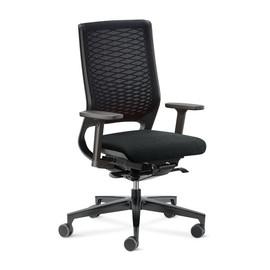 Drehstuhl Mera88 mit Armlehnen ohne Kopfstütze mit Netzrücken Farbe 484 chicago schwarz Klöber Produktbild