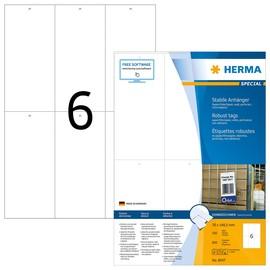 Anhängezettel Colli-Anhänger Inkjet+ Laser+Kopier 70x148,5mm auf A4 Bögen weiß perforiert Herma 8047 (PACK=600 STÜCK) Produktbild