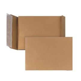 Faltentasche ohne Fenster E4 280x400x40mm mit Haftklebung 150g braun Natron (PACK=10 STÜCK) Produktbild