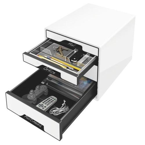 Schubladenbox CUBE 4 Schübe 287x270x363mm weiß Kunstoff Leitz 5252-10-01 Produktbild Front View L