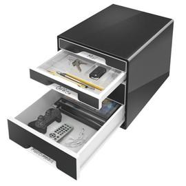Schubladenbox CUBE 4 Schübe 287x270x363mm schwarz Kunststoff Leitz 5252-10-95 Produktbild