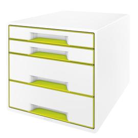 Schubladenboxen WOW Cube 4 Schübe 287x270x363mm perlweiß/grün metallic Kunstoff Leitz 5213-20-64 Produktbild