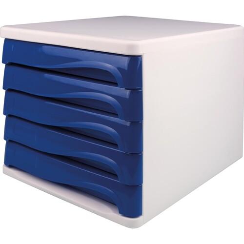 Schubladenbox Economy 5 Schübe 265x340x250mm weiß/blau Kunststoff Helit H6129484 Produktbild Front View L