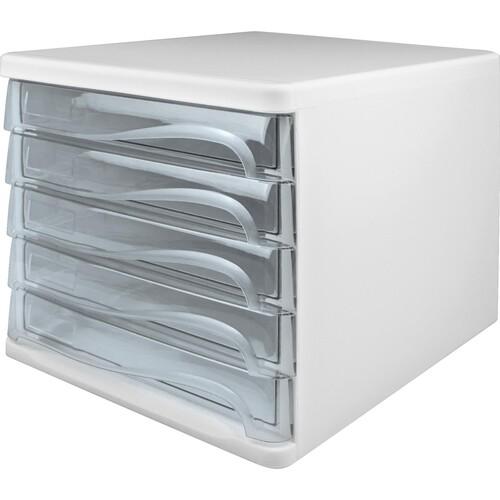 Schubladenbox Economy 5 Schübe 265x340x250mm weiß/glasklar Kunststoff Helit H6129402 Produktbild Front View L