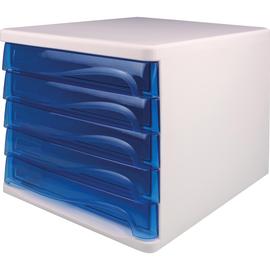 Schubladenbox Economy 5 Schübe 265x340x250mm weiß/blau transparent Kunststoff Helit H6129430 Produktbild