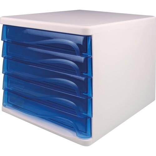 Schubladenbox Economy 5 Schübe 265x340x250mm weiß/blau transparent Kunststoff Helit H6129430 Produktbild Front View L