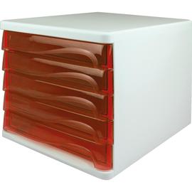 Schubladenbox Economy 5 Schübe 265x340x250mm weiß/rot transparent Kunststoff Helit H6129420 Produktbild