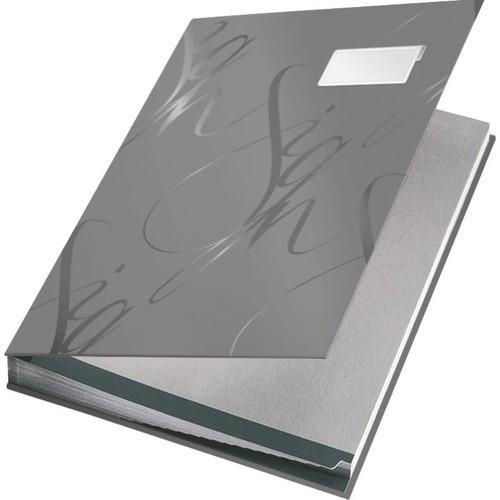 Unterschriftsmappe Design 18 Fächer A4 grau Karton Leitz 5745-00-85 Produktbild Front View L