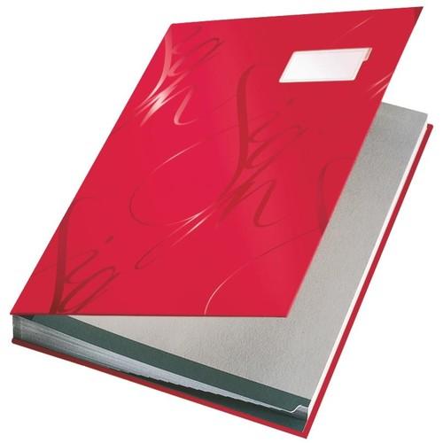 Unterschriftsmappe Design 18 Fächer A4 rot Karton Leitz 5745-00-25 Produktbild Front View L