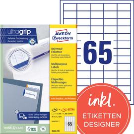 Etiketten Inkjet+Laser+Kopier 38x21,2mm auf A4 Bögen weiß Zweckform 3666-200 (PACK=14300 STÜCK) Produktbild