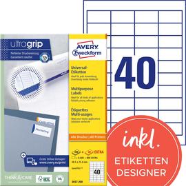 Etiketten Inkjet+Laser+Kopier 48,5x25,4mm auf A4 Bögen weiß Zweckform 3657-200 (PACK=8800 STÜCK) Produktbild