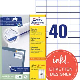 Etiketten Inkjet+Laser+Kopier 52,5x29,7mm auf A4 Bögen weiß Zweckform 3651-200 (PACK=8800 STÜCK) Produktbild