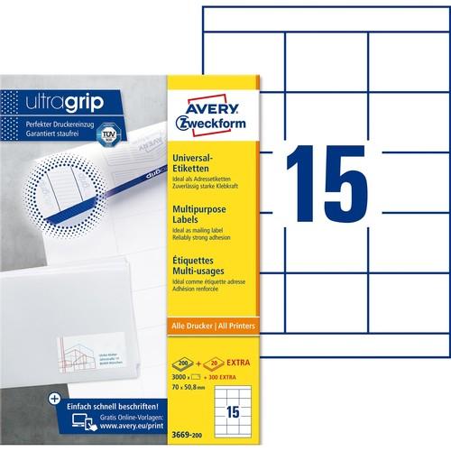 Etiketten Inkjet+Laser+Kopier 70x50,8mm auf A4 Bögen weiß Zweckform 3669-200 (PACK=3300 STÜCK) Produktbild