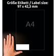 Etiketten Inkjet+Laser+Kopier 97x42,3mm auf A4 Bögen weiß Zweckform 3659-200 (PACK=2640 STÜCK) Produktbild Additional View 6 S