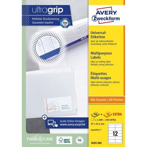 Etiketten Inkjet+Laser+Kopier 97x42,3mm auf A4 Bögen weiß Zweckform 3659-200 (PACK=2640 STÜCK) Produktbild Additional View 1 L