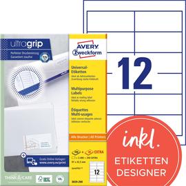 Etiketten Inkjet+Laser+Kopier 97x42,3mm auf A4 Bögen weiß Zweckform 3659-200 (PACK=2640 STÜCK) Produktbild