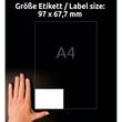 Etiketten Inkjet+Laser+Kopier 97x67,7mm auf A4 Bögen weiß Zweckform 3660-200 (PACK=1760 STÜCK) Produktbild Back View S