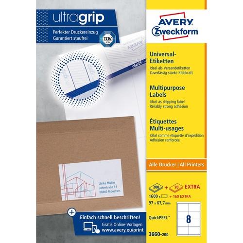 Etiketten Inkjet+Laser+Kopier 97x67,7mm auf A4 Bögen weiß Zweckform 3660-200 (PACK=1760 STÜCK) Produktbild Additional View 1 L