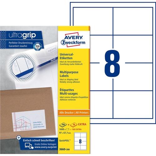 Etiketten Inkjet+Laser+Kopier 97x67,7mm auf A4 Bögen weiß Zweckform 3660-200 (PACK=1760 STÜCK) Produktbild