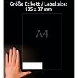 Etiketten Inkjet+Laser+Kopier 105x37mm auf A4 Bögen weiß Zweckform 3484-200 (PACK=3520 STÜCK) Produktbild Additional View 6 S