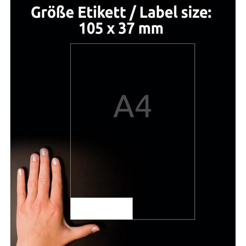 Etiketten Inkjet+Laser+Kopier 105x37mm auf A4 Bögen weiß Zweckform 3484-200 (PACK=3520 STÜCK) Produktbild Additional View 6 L