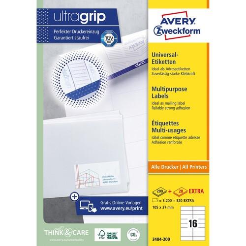 Etiketten Inkjet+Laser+Kopier 105x37mm auf A4 Bögen weiß Zweckform 3484-200 (PACK=3520 STÜCK) Produktbild Additional View 1 L