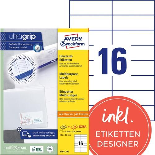 Etiketten Inkjet+Laser+Kopier 105x37mm auf A4 Bögen weiß Zweckform 3484-200 (PACK=3520 STÜCK) Produktbild