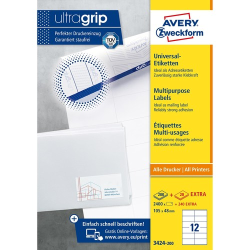 Etiketten Inkjet+Laser+Kopier 105x48mm auf A4 Bögen weiß Zweckform 3424-200 (PACK=2640 STÜCK) Produktbild Additional View 1 L