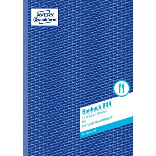 Bonbuch 1000 Abrisse A4 2x50Blatt blau Zweckform 844 Produktbild Additional View 1 L