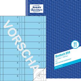 Bonbuch 1000 Abrisse A4 2x50Blatt blau Zweckform 844 Produktbild