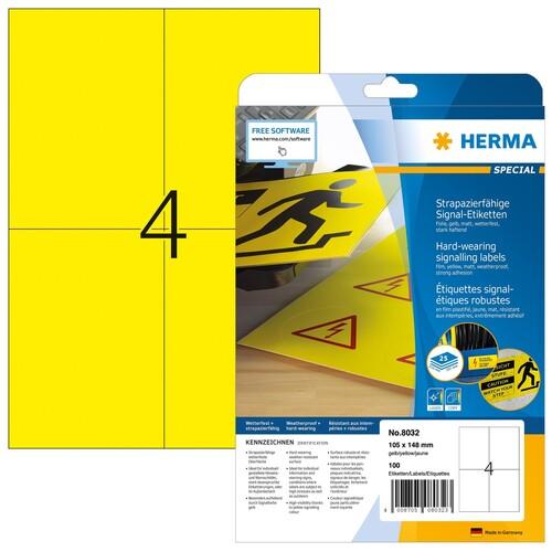 Etiketten Laser+Kopier 105x148mm auf A4 Bögen gelb wetterfest+ strapazierfähig Herma 8032 (PACK=100 STÜCK) Produktbild