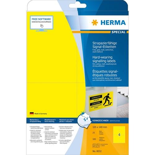 Etiketten Laser+Kopier 105x148mm auf A4 Bögen gelb wetterfest+ strapazierfähig Herma 8032 (PACK=100 STÜCK) Produktbild Additional View 1 L