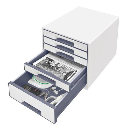 Schubladenboxen WOW Cube 5 Schübe 287x270x363mm perlweiß/grau Kunstoff Leitz 5214-20-01 Produktbild Additional View 1 L