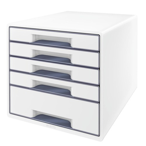 Schubladenboxen WOW Cube 5 Schübe 287x270x363mm perlweiß/grau Kunstoff Leitz 5214-20-01 Produktbild