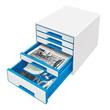 Schubladenboxen WOW Cube 5 Schübe 287x270x363mm perlweiß/blau metallic Kunstoff Leitz 5214-20-36 Produktbild Additional View 1 S