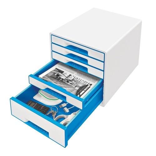 Schubladenboxen WOW Cube 5 Schübe 287x270x363mm perlweiß/blau metallic Kunstoff Leitz 5214-20-36 Produktbild Additional View 1 L