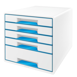 Schubladenboxen WOW Cube 5 Schübe 287x270x363mm perlweiß/blau metallic Kunstoff Leitz 5214-20-36 Produktbild