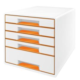 Schubladenboxen WOW Cube 5 Schübe 287x270x363mm perlweiß/orange metallic Kunstoff Leitz 5214-20-44 Produktbild