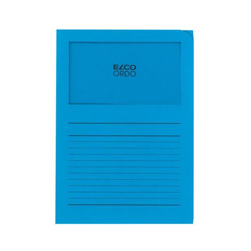 Sichtmappe Ordo 220x310mm Papier intensiv blau mit Sichtfenster Elco 29489.32 Produktbild Front View L